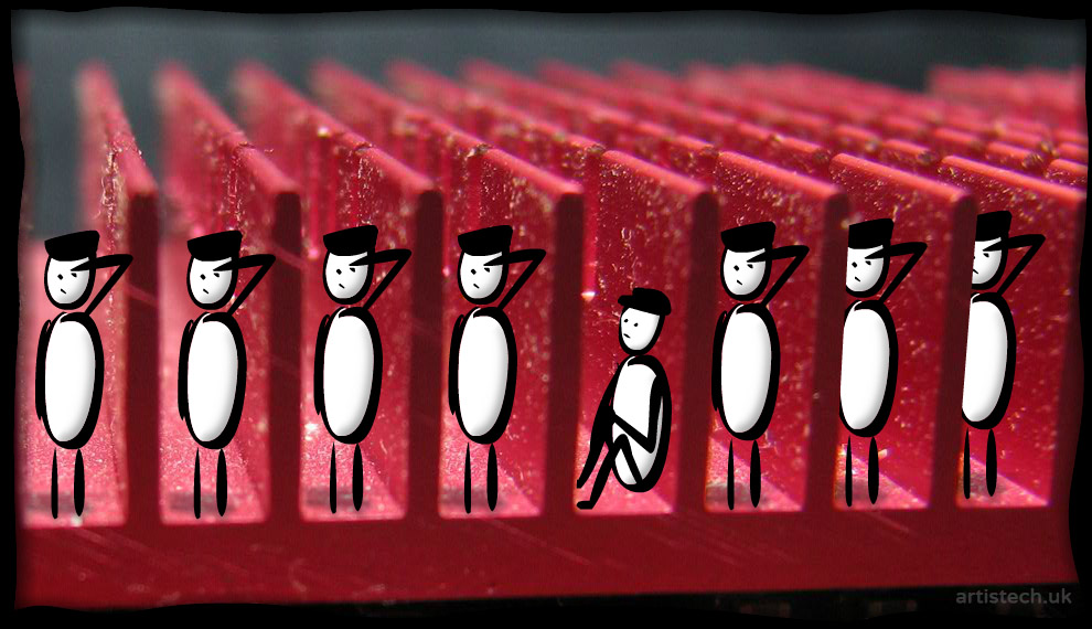 Cartoon figures standing guard in a heat sync